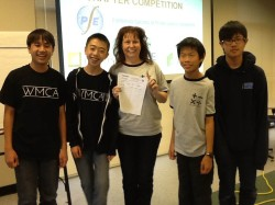 The Suzanne Middle School 1st Place Team: Matthew Nguyen, Aaron Chang, Amy Erickson, Ethan Lin, and Christopher Wong, with advisor Amy Erickson.  (Photo courtesy: Kelli Gile)