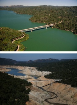 Lake Oroville reservoir 2011 and 2014
