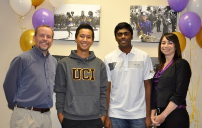Congratulations to Brahma golfers, Sahith Theegala and Jefferson Kao, who have signed national letters of intent. Shown with Coach Ty Watkins and Principal Catherine Real.