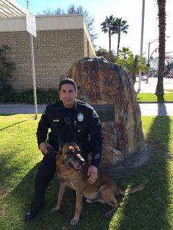 Corporal Rick Aguiar with Officer Robbie (Photo Courtesy of Pomona PD)