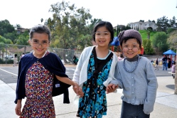 """Three """"little old ladies,"""" Kindergarteners Rachel Peiten, Chloe Thi, and Molly Chung showed off their 100-year old costumes on Jan. 29.  (Photo Courtesy:  Kelli Gile)"""