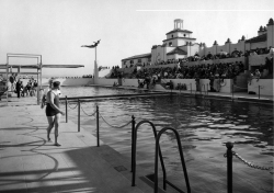 (Photo Courtesy:  Lake Norconian Club Foundation) Caption:  On May 20, 1928, the American Olympic Diving and Swimming Team participated in the grand opening of the Club's outdoor pools.  Cecily Cuhna set the world record for the 400 meter swim on that day.
