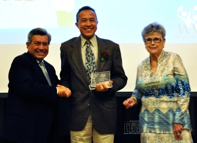 Photo Courtesy:  Kelli Gile  Westhoff Elementary parent, David Morales, was honored at the WVEF Night of the Stars gala. Shown with Bob Pacheco and Eileen Ansari.