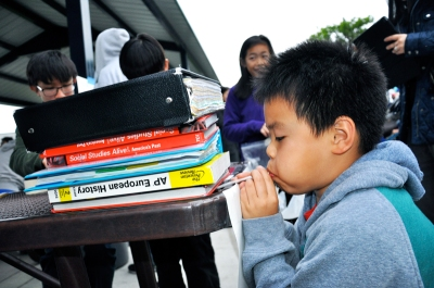 Photo Courtesy:  Kelli Gile 4th Grader, Winston Chang, used his breath to lift heavy books.