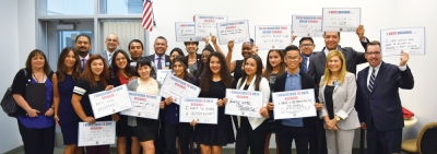 Photo Courtesy:  PUSD Pomona Unified high school students proudly display their voter registration pledges during a Sept. 18 session in which California Secretary of State Alex Padilla, and state Senator Connie Leyva, spoke about the importance of civic engagement.