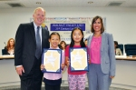 Photo Courtesy: WVUSD Vejar 5th Graders, Siarra Huang and Sunny Liu, were honored as Super Star Students during the Sept. 16 Board Meeting (shown with Board President Larry Redinger and Principal Jennifer De Anda).