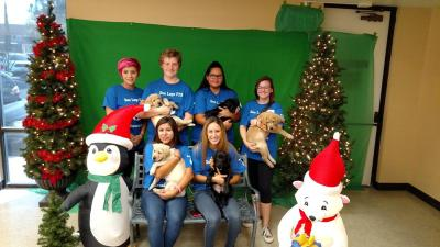 Photo Courtesy: CVUSD Don Lugo High School students take time out of puppy rearing for a holiday photo.