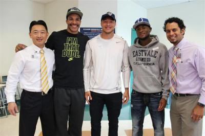 Photo Courtesy of CNUSD ERHS Alumni celebrate their NFL signing (L-R: Superintendent Michael Lin, Austin Hill, Tyler Slavin, Josh Mitchell, and ERHS Principal Jeremy Goins.)