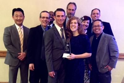 Photo Courtesy of CNUSD Orange Grove Teacher Jessica Fuller poses with her award