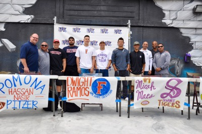 Photo courtesy: Kelli Gile Walnut High student athletes, Eli Goichenberg, Hassan Nasir, Dwight Ramos, Micah Maes, Quinn Cooper, and Christian Longoria are moving on to play collegiate sports. Shown with Principal Brandon Dade and Athletic Director Jerry Person.