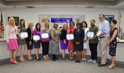 Photo courtesy: Kelli Gile The WVUSD Board of Trustees honored School Site Council chairpersons during the April 20 meeting. Shown: Principal Susan Arzola, teacher Jeanette Schaller-South Pointe Middle School, Principal Denise Rendon, parent Jenny Chen – Westhoff Elementary, teacher Kimberly McNeil, Principal Nancy Stingley-Maple Hill Elementary, Principal Joan Perez, parent Kathy Youmans – Collegewood Elementary, Board President Helen Hall, Principal Carolyn Wills, parent Kevin Hoshi – Evergreen Elementary, parent Marcus Lotto, Principal Jeanette Koh –Quail Summit Elementary.