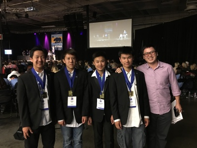Photo courtesy: Kelli Gile California History Day winners Joshua Chung, Raymond Cheng, Cyrus Phan, and Phillip Huynh, shown with advisor Kevin Duh, will compete in Washington D.C. in June.