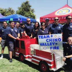 """Let's extinguish cancer"" Chino Valley Fire Department attended the Relay for Life event on August 6."