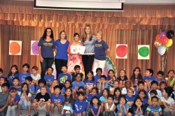 Quail Summit third grade students and staff with author Kathryn Otoshi. It just takes One!