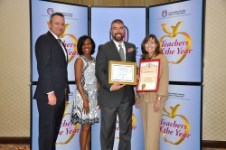 Ron Hockwalt Academies teacher Frank DeAnda was among 73 Los Angeles County Teachers of the Year honored on September 16. Shown with Superintendent Dr. Robert Taylor, Principal Dr. Donna Hunter, and Board Member Cindy Ruiz. Photo courtesy: WVUSD