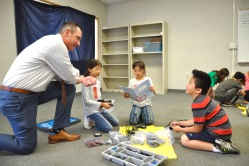 PLTW in action! Superintendent Dr. Robert Taylor visits with Evergreen third grade engineers designing a vehicle to rescue a trapped zoo animal. Photo courtesy: WVUSD