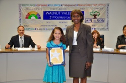 Collegewood Elementary student Pitzil Milagro Avila Castellanos received the Super Star Student Award on October 19. Shown with Board President Helen Hall. Photo courtesy: WVUSD