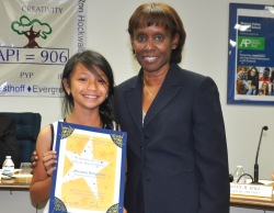 Walnut Elementary 5th grader Breanna Bongcaras received the Super Star Student Award on November 16. Shown with Board President Helen Hall. Photo courtesy: WVUSD