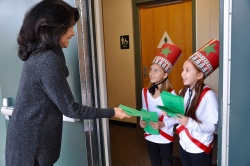"Welcome to the show! Evergreen 2nd graders Kayden Siglar and Ava Furumoto welcome Principal Carolyn Wills to the performance of ""Parade of the Wooden Soldiers"" on December 7.  Photo courtesy: WVUSD"