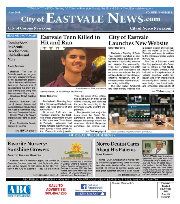 Cover: City of Eastvale News, June 2019